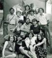VLS Pinceműhely, kiállítás-bezáró után a Templomdombon, Szentendre, 1977.07.03. (jobbról fent a második GOS)