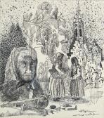 Nagymama (Piac), 1966, tus, toll, papír, 20x17,5 cm