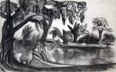 Büdös tó, 1965 kl, szén, kréta, papír, 30,5x49 cm
