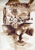 Tájkatedrális, 1967 kl, diópác, papír, 100x70 cm