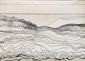 Tektonika, 1968 kl, tus, toll, papír, 61x85 cm