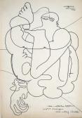 Kemsei István illusztráció, 1970, tus, papír, 30x21 cm