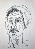 Bácsi, 1970-es évek, tus, papír, 12x10 cm
