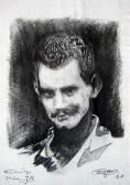 Tanulmány, 24 éves József Attila, 1967, fotómásolat eredeti rajzról, papír, 41,5x29 cm