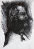 Vonal-szőttes (Önarckép), 1972 kl, tus, toll, szárazpecsét, papír, ?? cm