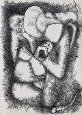 Gondolkodó, 1968 kl, tus, toll, papír, 86x61 cm