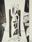 Széltorony (Csönd testek sorozat), 1968, tus, toll, papír, 21x16 cm