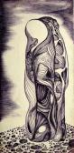 Felnyitott totem, 1969 kl, golyóstoll, papír, 12,3x6 cm