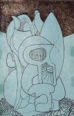 """Tanulmány az """"Apokrif emlékmű""""-hez I., 1969, tus, toll, papír, (3x) 15x9,5 cm"""