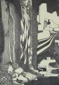 Textúra tanulmány I. (Falak), 1970-75 között, tus, toll, 22,5x16 cm