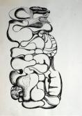 Figura II., 1975-80 között, tus, papír, szárazpecsét, 42x30 cm