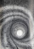 Térspirál, 1963-64 kl, tus, toll, papír, 85x61 cm