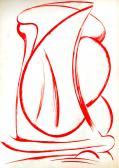 Vörös jelek I., 1985-90 között, piros tus, papír, 86x61 cm