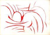 Vörös jelek II., 1985-90 között, piros tus, papír, 86x61 cm