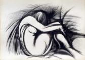 Pihenő, 1964-68 között, tus, kréta, papír, 61x85 cm