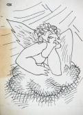 Fejek (Dühös angyal), 1970-es évek, tus, papír, 10,5x7,5 cm