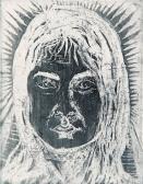Tünde (Lányfej), 1966, rézkarc, papír, 42x29 cm / 120x93 mm
