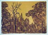 Aranybolygó (Ozorai emlék), 1964 kl, linómetszet, papír, 43x61 cm / 250x350 mm