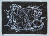 Bokor (Kompozíció), 1974-80 kl, linómetszet, papír, 21,5x30 cm / 170x235 mm