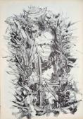 Leletek (Nyomatok sorozat I.), 1970, monotípia, vegyes technika, papír, 30x21 cm