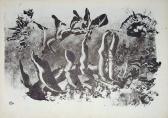 Leletek (Nyomatok sorozat IV.), 1970, monotípia, vegyes technika, papír, 21x30 cm