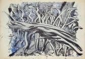 Leletek (Nyomatok sorozat VI.), 1970, monotípia, vegyes technika, papír, 21x30 cm
