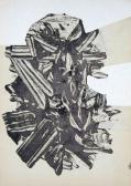 Leletek (Nyomatok sorozat VIII.), 1970, monotípia, vegyes technika, papír, 30x21 cm