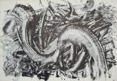 Leletek (Nyomatok sorozat IX.), 1970, monotípia, vegyes technika, papír, 30x21 cm