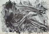 Leletek (Nyomatok sorozat X.), 1970, monotípia, vegyes technika, papír, 30x21 cm