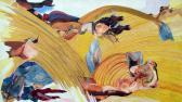 A gravitáció csökkenésének ideje, 2005, akril, kollázs, farost, 46,5x82 cm