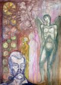 A vendégek bevonulása, 1965 kl, akvarell, filctoll, 86x61 cm