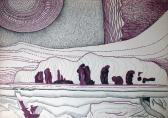 Rituális vendégség, 1973-75 kl, tus, filctoll, papír, 61x86 cm