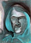 Arckép tekintet nélkül, 1971-72 kl, vegyes technika, papír, 88x63 cm