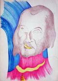 Elválasztva (Önarckép), 1970-es évek, színes tus és tinta, toll, szárazpecsét, papír, 30x42 cm