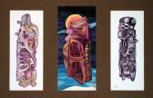 A Csönd testei sorozat (Triptichon), 1968 kl, színes golyóstoll, papír, (3x) 12x5,5 cm paszpartuban