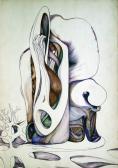"""Kert, totem (Változat a """"Csönd testek"""" c. pannó sorhoz), 1968 kl, színes golyóstoll, papír, 30,5x21 cm"""