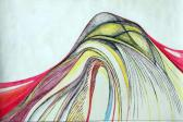Térgörbület sorozat I., 2008, tinta, vegyes technika, 41,5x62 cm