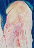 Kék-vörös, 1990-es évek, színes tinta, papír, 86x61 cm