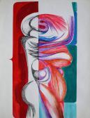 Bio trikolor, avagy többrétegű menetelő, 1970-es évek, színes tus és tinta, akvarell, szárazpecsét, papír, 45x35 cm