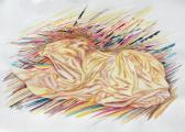Gyáva oroszlán, 1998, pasztell, akvarell, vegyes technika, papír, 75x105 cm