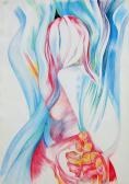 Metamorphoses VIII. (Ovidius emlékére), 1980, színes ceruza, papír, 50x34,5 cm