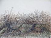 Vonalbozót, 1968, tus, színes tinta, papír, 16,5x22 cm