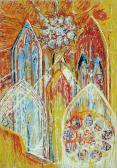 Katedrális I., 1966 kl, olaj, karton, 100x70 cm