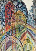 Katedrális V., 1966 kl, olaj, karton, 100x70 cm