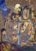 Vendégek egy rituálén, 1964, olaj, papír, 30x21,5 cm