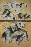 Kettős felosztásban, 1966, olaj, vegyes technika, könyvborító hátlap, 27x17,5 cm
