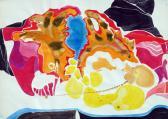 Kék születés II., 1970 kl, vízfesték, tinta, szórópisztoly, papír, 62x86 cm