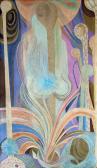 Kert, 1970 kl, olaj, vászon, 123x72 cm