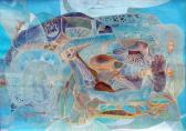 Táj türkizben, 1970 kl, olaj, vegyes technika, papír, 62x86 cm