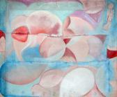 Rituális készülődés, 1972 kl, akril, vászon, karton, 50x59,5 cm